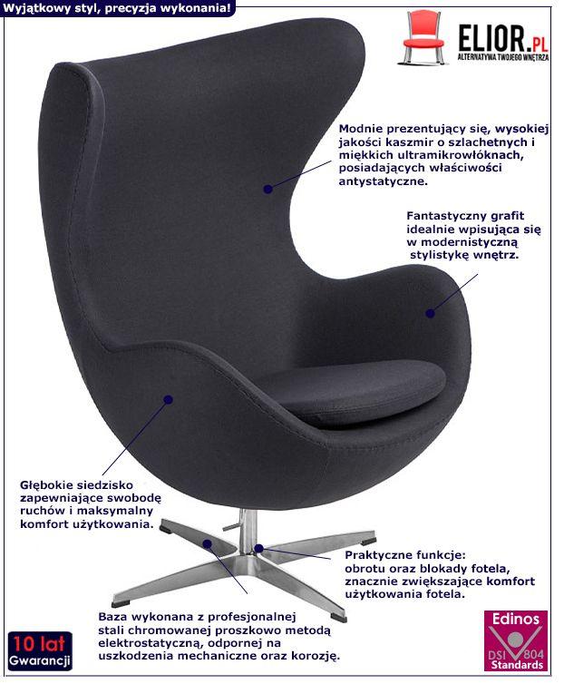 Modernistyczny fotel do salonu Eggi 2 - obrotowy