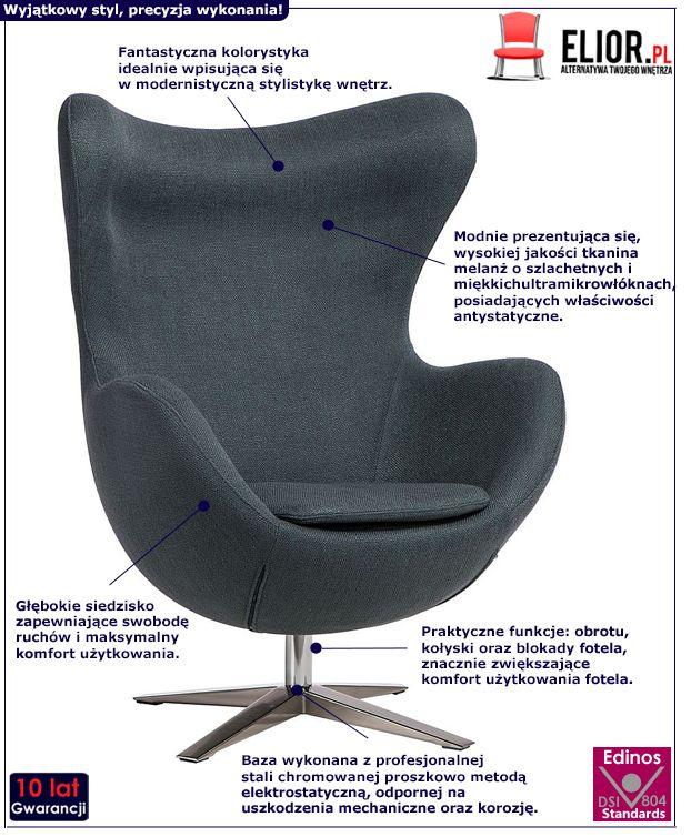 Stylowy fotel wypoczynkowy Eggi 3 - ciemnoniebieski