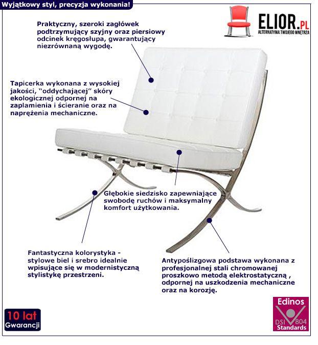 Stylowy fotel wypoczynkowy Vilis - biały