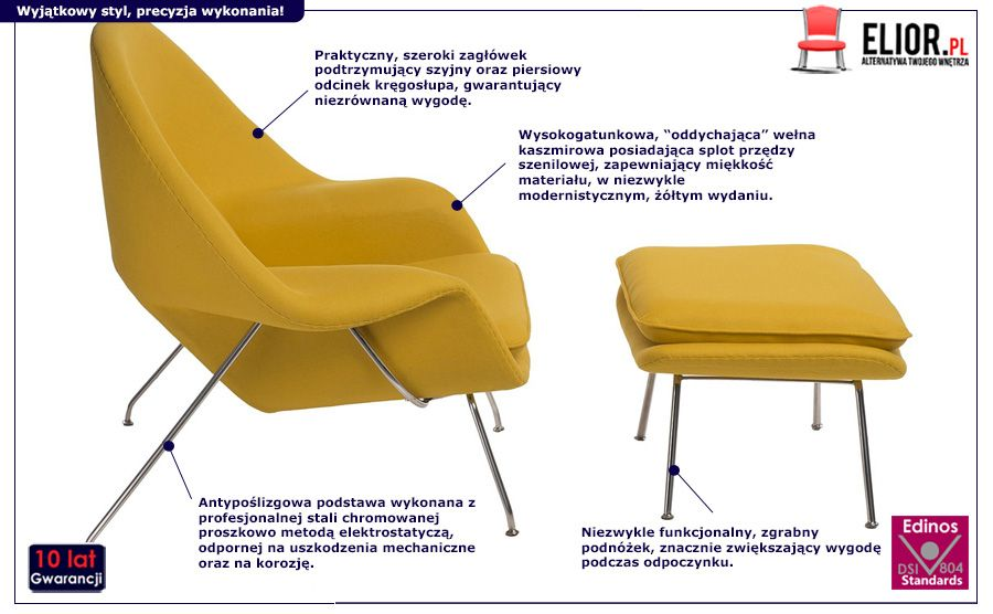 Gustowny fotel z podnóżkiem Pai - żółty