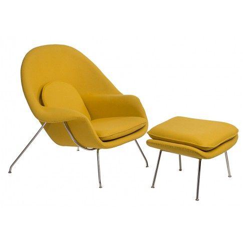 Zdjęcie produktu Fotel wypoczynkowy z podnóżkiem Pai - żółty.
