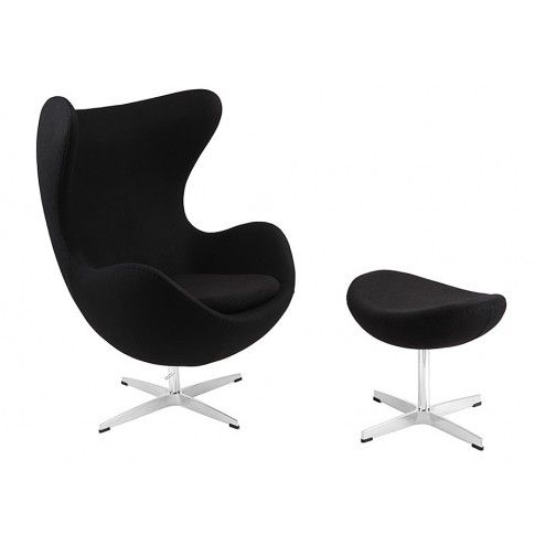 Zdjęcie produktu Obrotowy fotel wypoczynkowy z podnóżkiem Eggi - czarny.