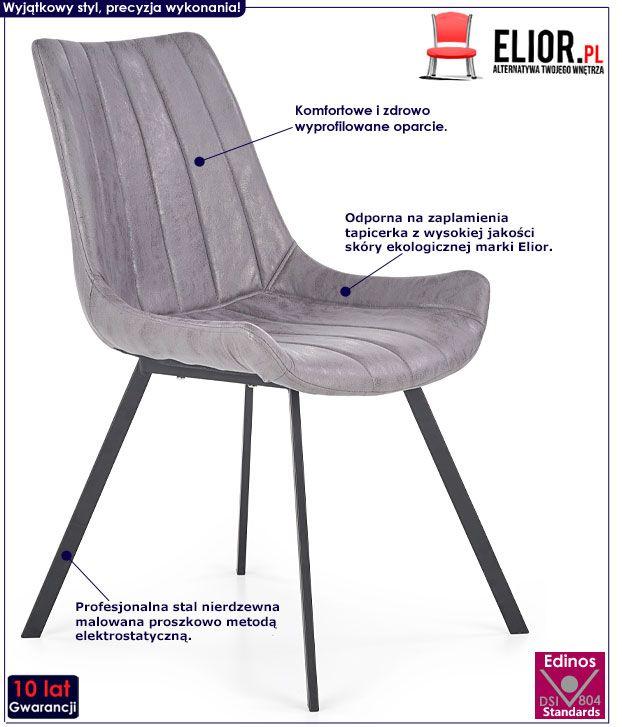 Loftowe szare krzesło do stołu Faran
