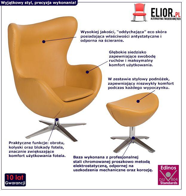 Stylowy fotel wypiczynkowy z podnóżkiem Eggi 3 - musztardowy