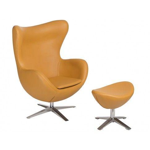 Zdjęcie produktu Obrotowy fotel wypoczynkowy z podnóżkiem Eggi 3 - musztardowy.