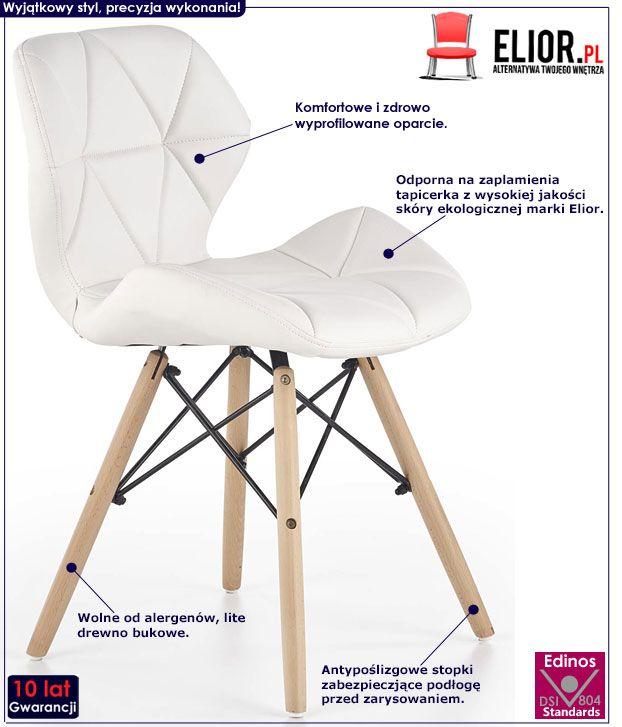 Białe krzesło kuchenne do stołu Dagon