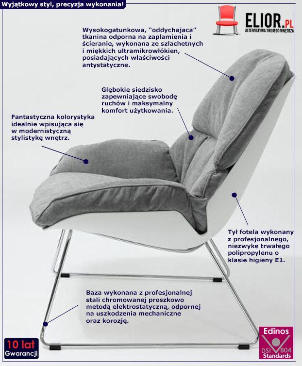 Modernistyczny fotel wypoczynkowy Galias - szary