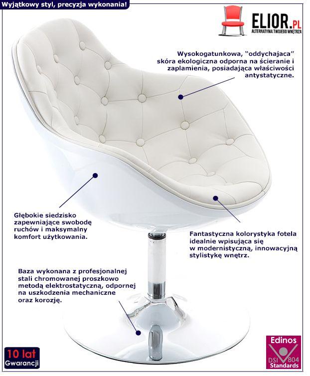 Awangardowy fotel wypoczynkowy Diksi - biały