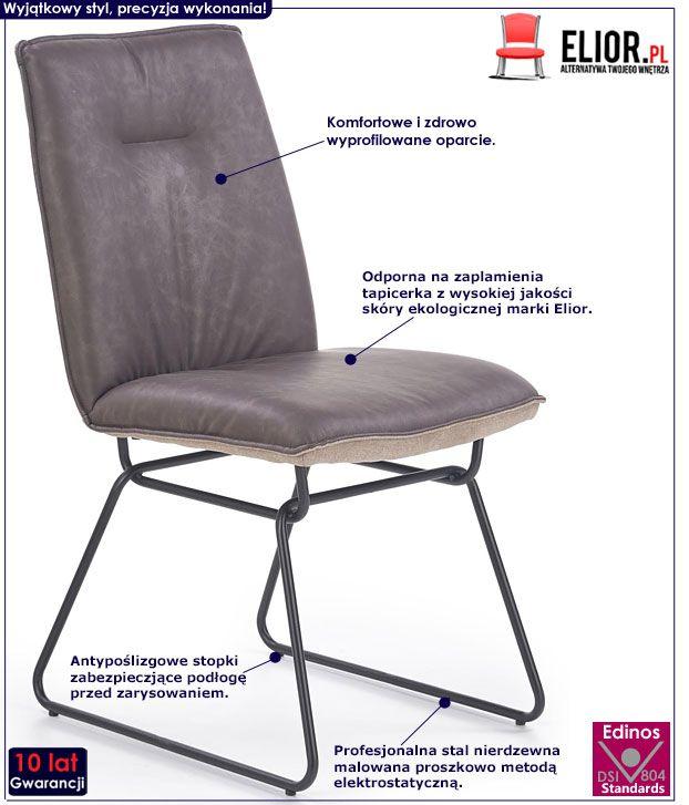 Szare krzesło w industrialnym stylu Viler 2X