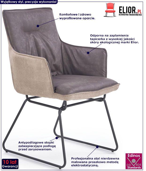 Szare krzesło w stylu loft Viler 3X