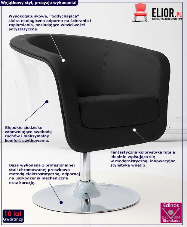 Stylowy fotel wypoczynkowy Novel - czarno - biały