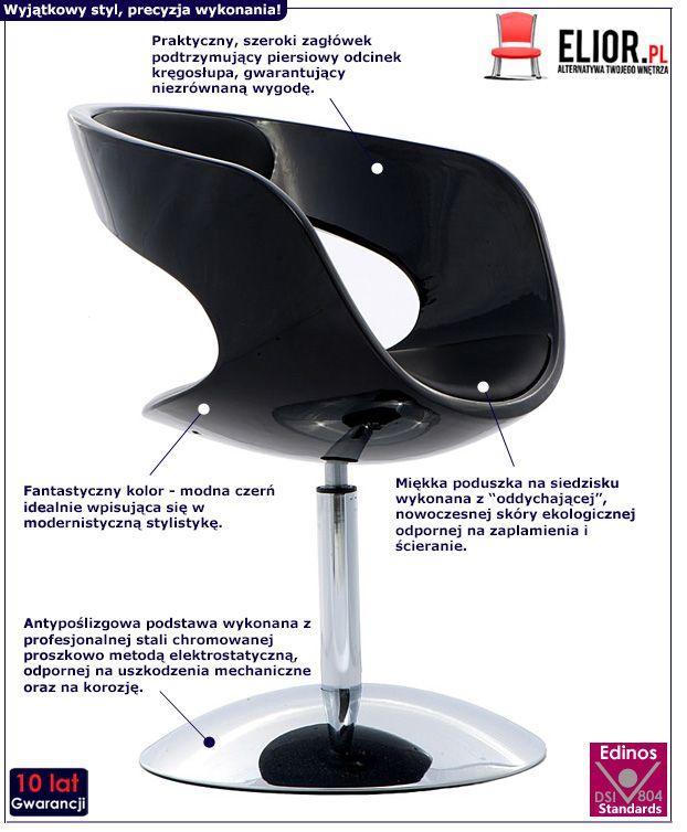Modny fotel obrotowy Lippi - czarny
