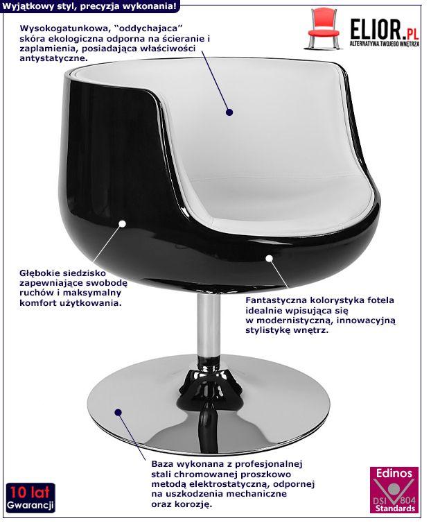Nowoczesny fotel obrotowy Reo - czarno - biały