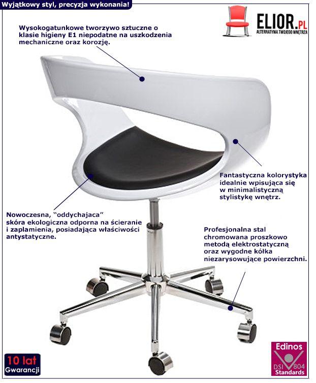 Wygodny fotel biurowy Atlant - biało - czarny