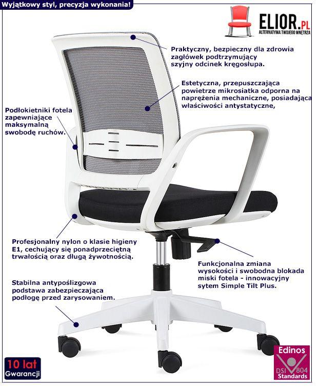 Obrotowy fotel biurowy Tekon - szaro - czarny