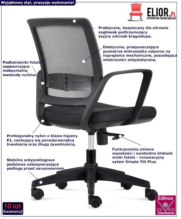 Wygodny fotel biurowy Tukon - czarno - szary