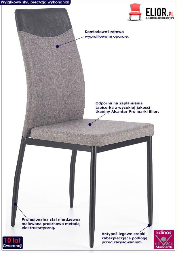 Szare krzesło kuchenne w industrialnym stylu Ibler