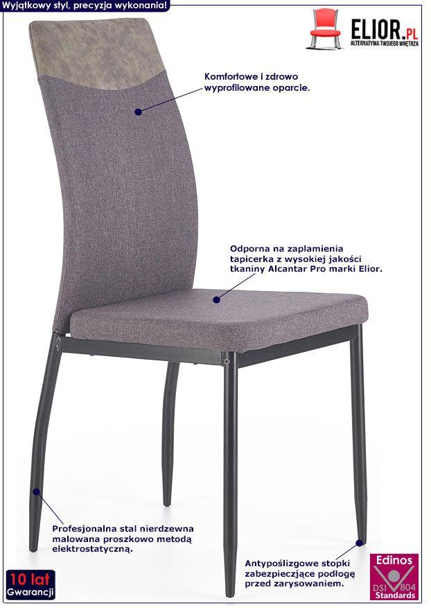 Ciemnoszare krzesło kuchenne Ibler