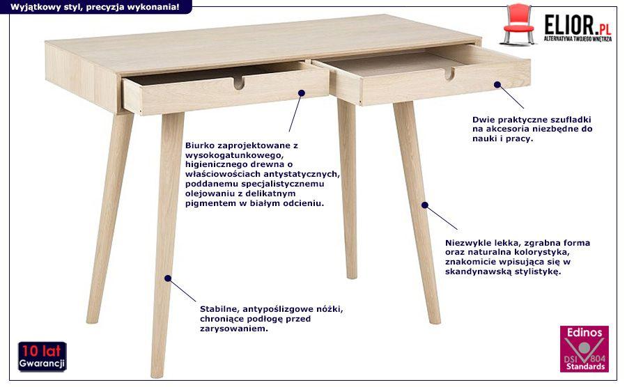 Jasne biurko Astrin - naturalne