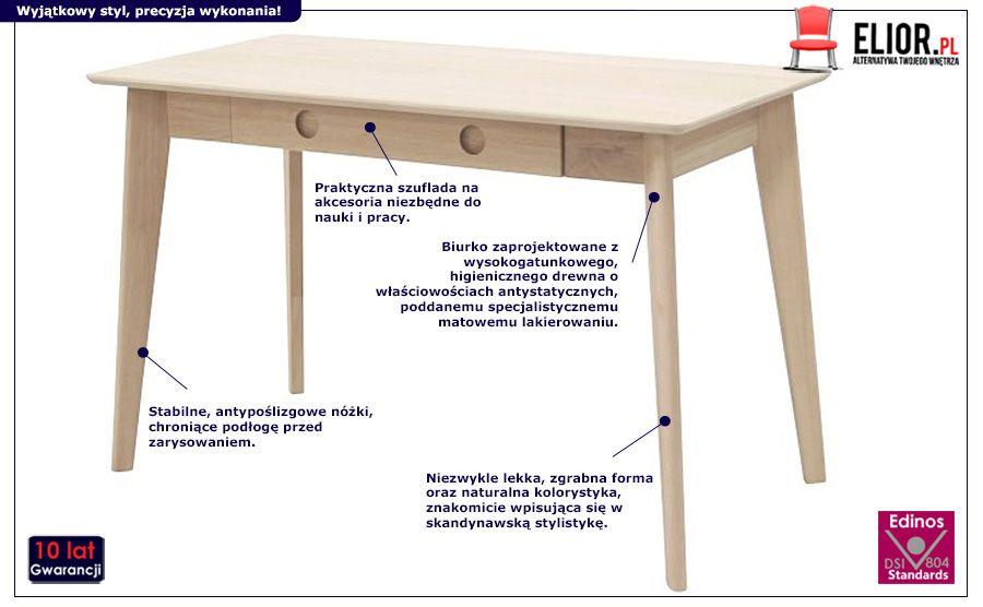 Drewniane biurko Vendo - naturalne
