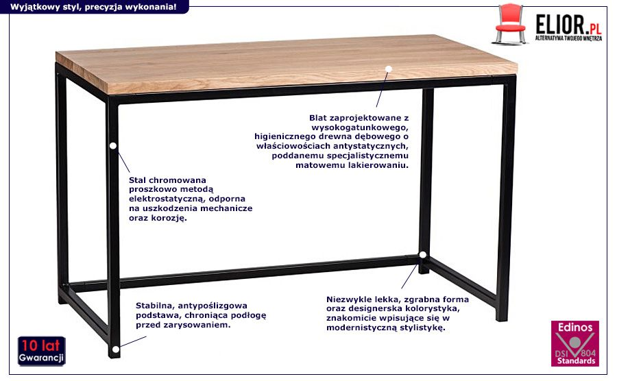Naturalne biurko Lukos - drewniane