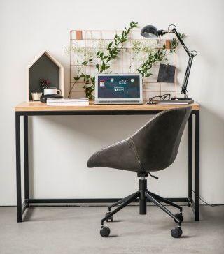 Stylowe biurko Lukos - naturalno czarne