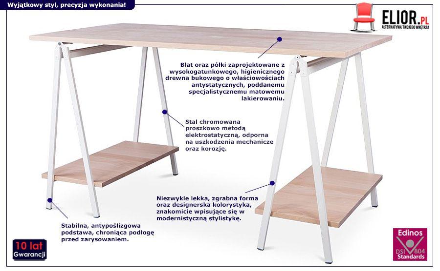 Naturalne biurko Marel - drewniane