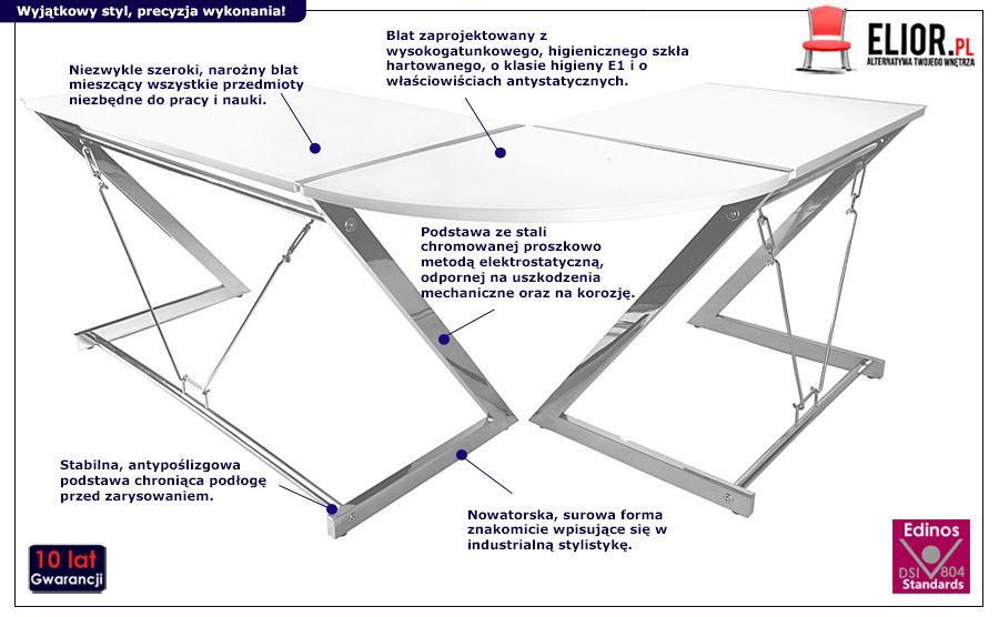 Industrialne biurko narożne Caner 2 - białe