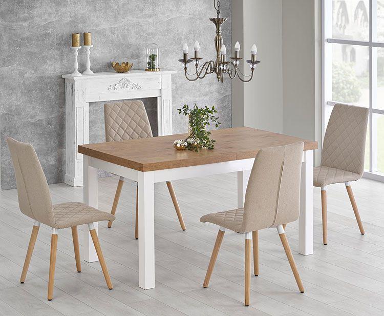 Beżowe krzesła tapicerowane do jadalni Corden