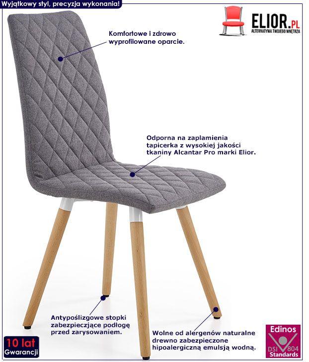 Szare krzesło drewniane do stołu Corden