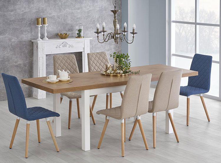 Niebieskie krzesło pikowane kuchenne Corden