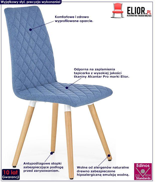 Niebieskie krzesło drewniane pikowane Corden