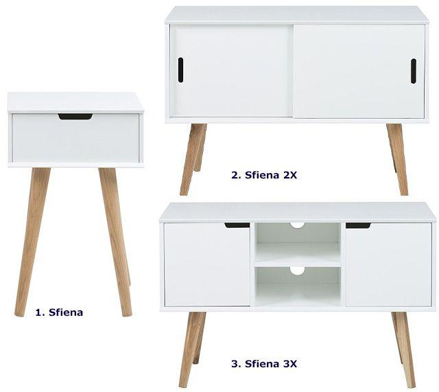 Skandynawska szafka Sfiena - biała