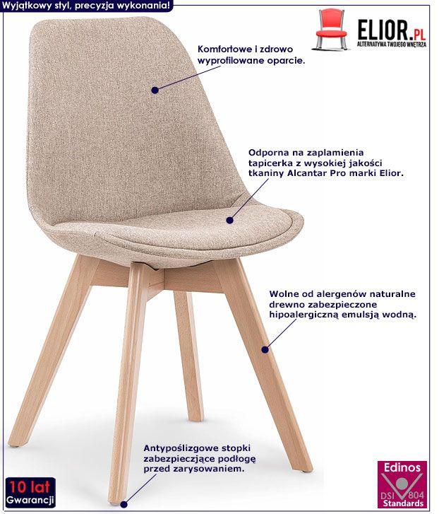 Beżowe krzesło w skandynawskim stylu Nives