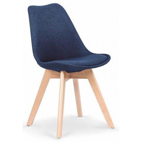 Zdjęcie produktu Stylowe krzesło drewniane Nives - granatowe.