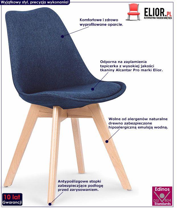 Granatowe krzesło w skandynawskim stylu Nives