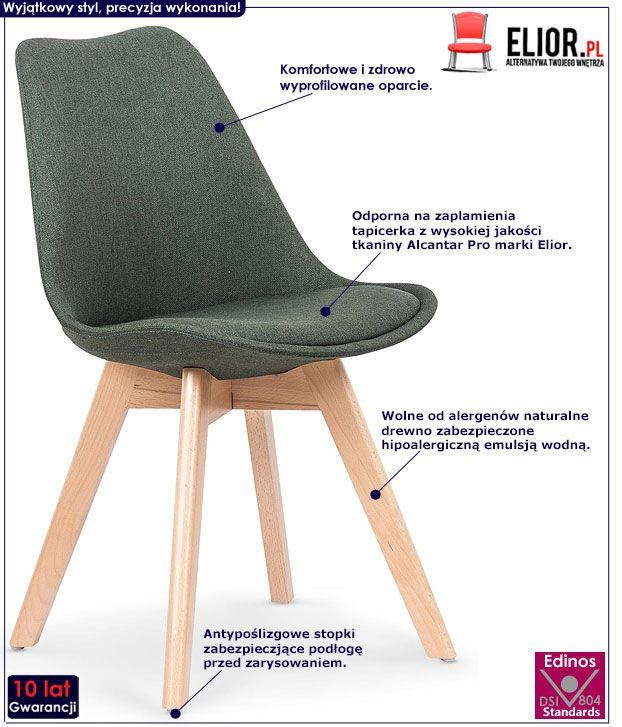 Zielone krzesło kuchenne w skandynawskim stylu Nives