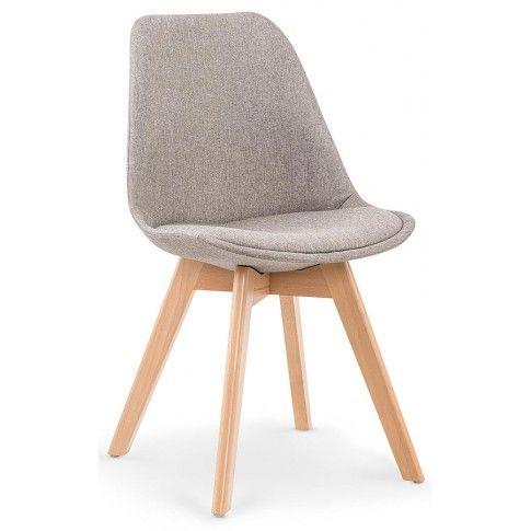 Zdjęcie produktu Stylowe tapicerowane krzesło drewniane Nives - jasny popiel.