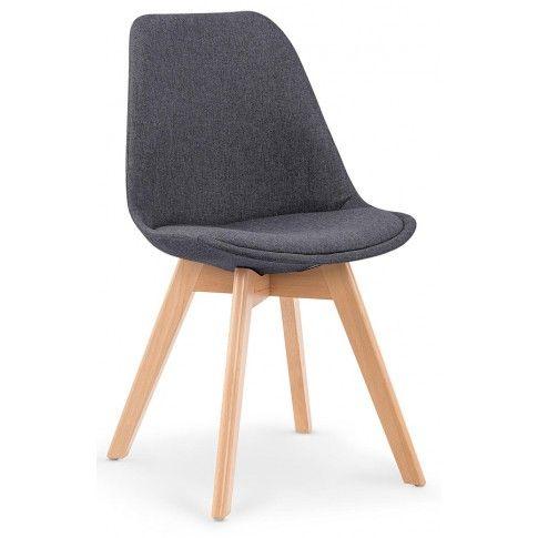 Zdjęcie produktu Stylowe tapicerowane krzesło drewniane Nives - ciemny popiel.