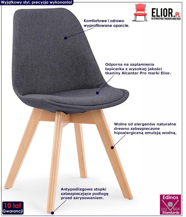 Ciemnoszare krzesło kuchenne Nives