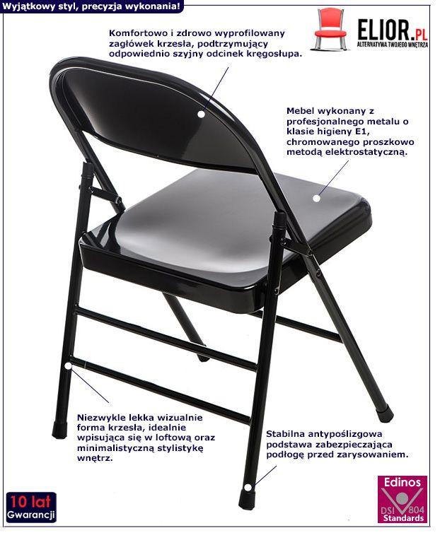 Loftowe krzesło Ledox - czarne