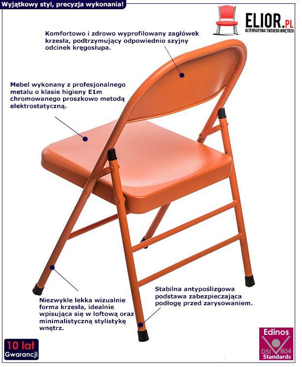 Modne krzesło Ledox - pomarańczowe