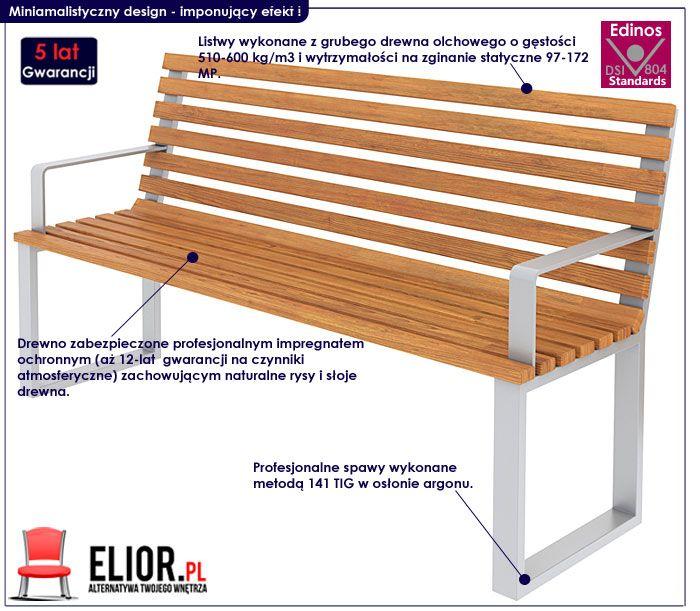 nowoczesna ławka drewniana miejska
