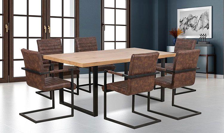 Brązowe krzesło w industrialnym stylu Dimon