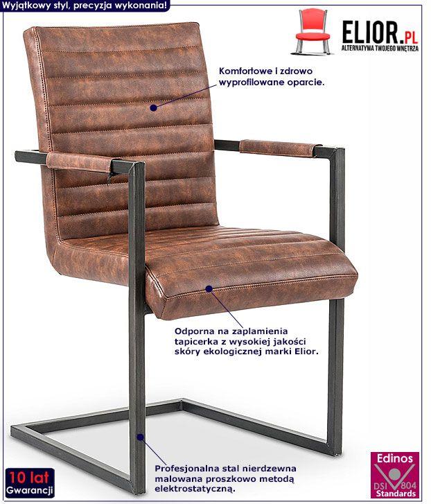 Loftowe krzesło brązowe do stołu, biurka Dimon