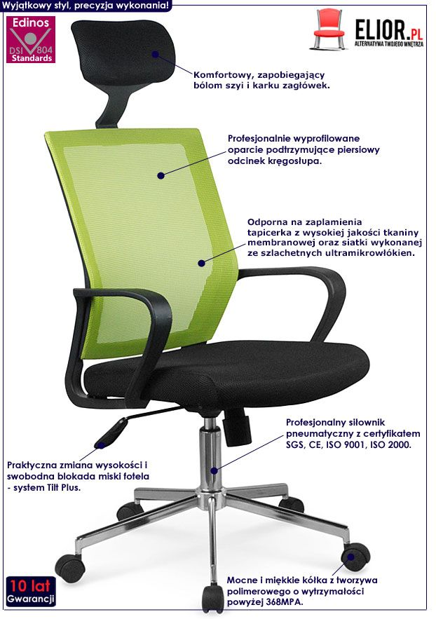 Zielone krzesło obrotowe do biurka Tomix