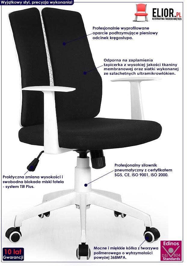 Czarny fotel obrotowy w nowoczesnym stylu Rexor