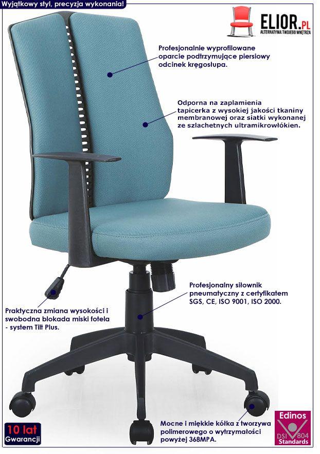 Turkusowy fotel biurowy do komputera Rexor