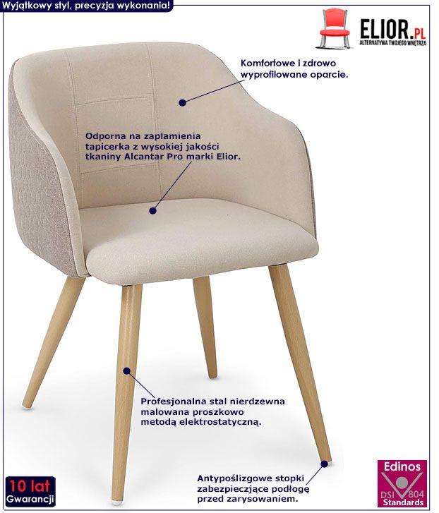 Beżowe krzesło z printem do kuchni, salonu Limer