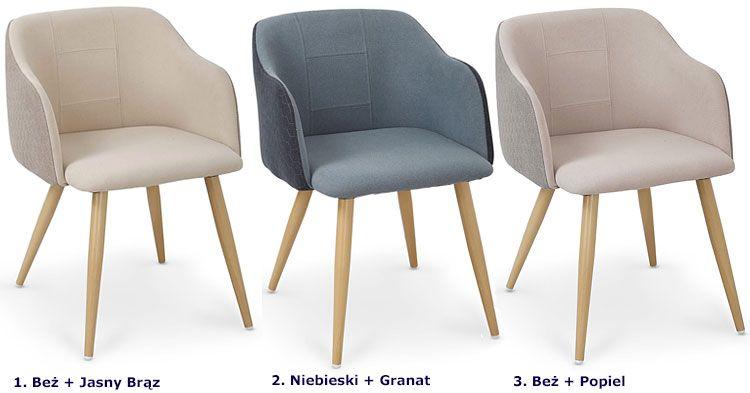Tapicerowane krzesło kuchenne z delikatnym printem Limer